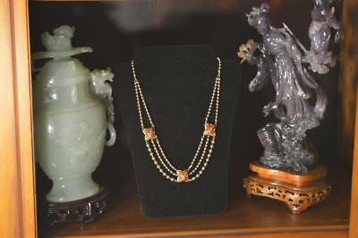 ntique Victorian Art Deco Gold Filled Ball Chain Carnelian Necklace Stunning