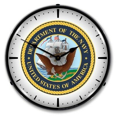 Retro Nostalgic US Navy Military Backlit Lighted Man Cave Game Room Wall Clock