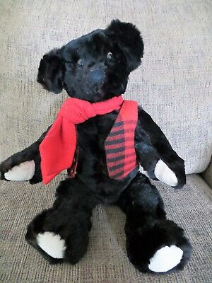 Vintage Hand Made Real Fur Black Teddy Bear Fully Jointed with Vest Scarf  17.5""