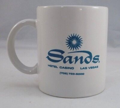 Sands Hotel Casino Las Vegas White Coffee Mug Tea Cup Blue Logo Pre-Owned D6