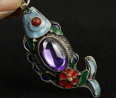 Old CHINESE OLD JADE INLAY CLOISONNE MIAO SILVER HANDWORK FISH PENDANT
