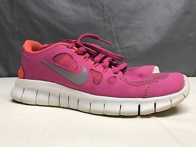 Nike Free 5.0 Running Shoes Girl's Size 4Y Youth Sz. Fusion Pink/metallic Silver