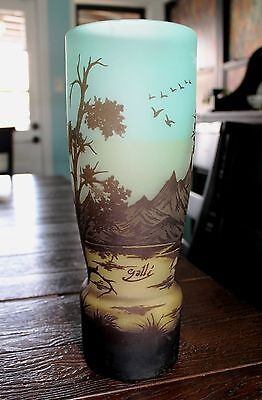 "Art Nouveau Cameo Frosted Art Glass Vase 13"" Signed Galle"" Mountain Landscape"