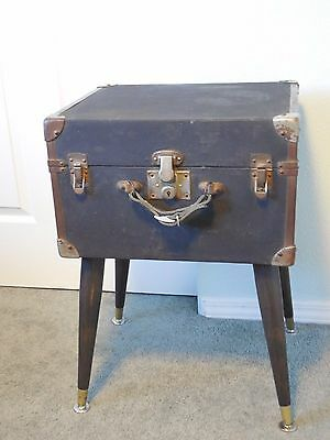 Antique Black Wooden Chest Side Table or End Table/Repurpos/Oil Cloth Covered