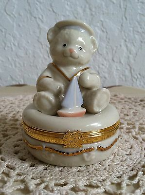 Lenox Treasures First Issue Anchors AwayTreasure Box W/ Teddy Bear And Gold Trim