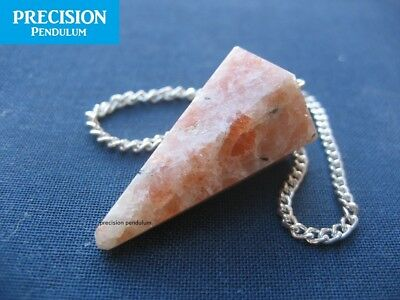 Solid Faceted Sunstone Precision Pendulum Healing Crystal Gemstone Dowsing