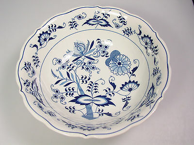 """Blue Danube blue onion serving bowl 9"""" Japan rectangle stamp Zweibelmuster style"""
