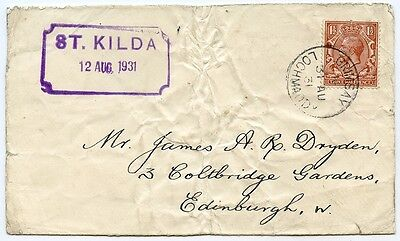 """1931 cover with KGV 1½d to Edinburgh post evacuation, by St Kilda """"Mail Boat""""."""