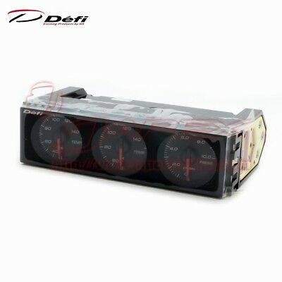 Defi Din Gauge Triple Meter Face: Black / Needle: Red / Numerals: White DF14403