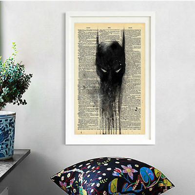 Hot Batman Newspaper Style Canvas Print Wall Art Home Oil Painting Picture Decor