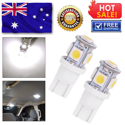 2x T10 LED 5SMD 5050 White 194 168 Car Light Bulb Lamp Wedge Tail Side Auto 12V