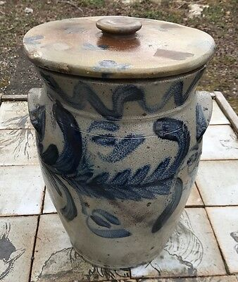 Antique Blue Decorated Stoneware Crock