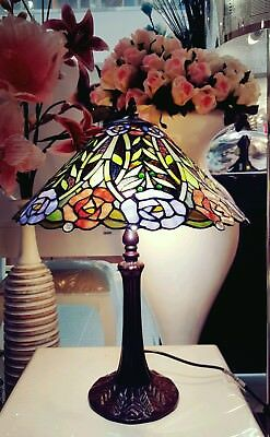 Tiffany Style Stained Glass Table Lamp Leading Light Rose
