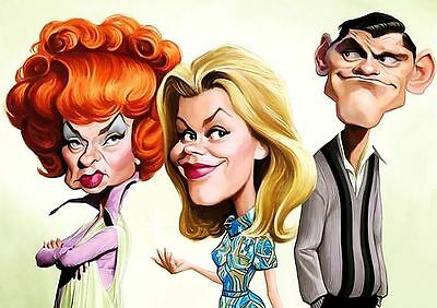 Bewitched Cast Caricature 60's TV Series Sticker or Magnet