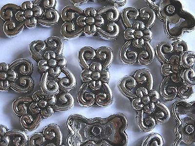 20 Silver 2 Strand Flower Jewellery Spacer Bars 19x11mm