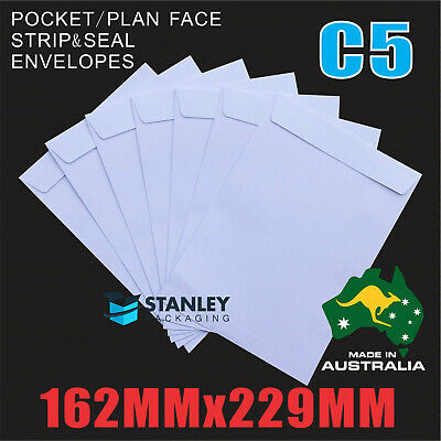 C5 White Envelopes 162mm x 229mm Peel N Seal Plain Face Pocket 229x162mm