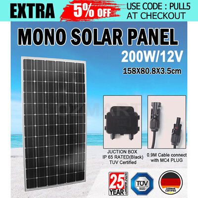 GISTA 200W Solar Panel 12V Battery Charging Power Mono Portable Camping Boat AU