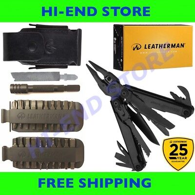 Leatherman Surge (BLACK) MultiTool+ Leather Sheath+ 42 Bit Kit +Driver Extender