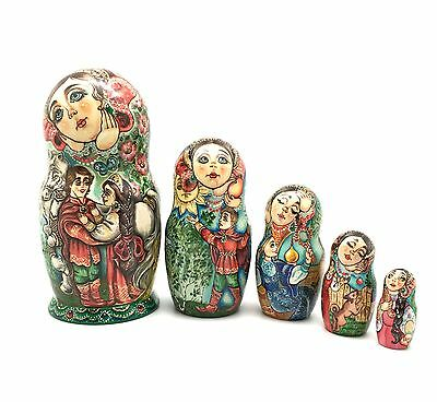 Russian Nesting Doll SLEEPING BEAUTY Hand Painted Signed by artist