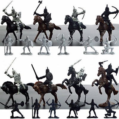 28PCS Medieval Knights Warriors Kids Toy Horses Soldiers Figures Model Playset