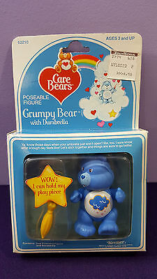 1984 GRUMPY w Dumbrella Vintage Kenner CARE BEAR Poseable Figure New in Package