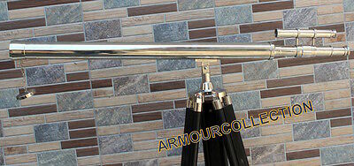 Double Barrel Chrome Finish_Telescope Griffith Spy~Wooden Tripod Stand