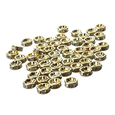 50pcs 8MM Gold Rhinestone Rondelle Round Bead Spacer HOT WS K7P9