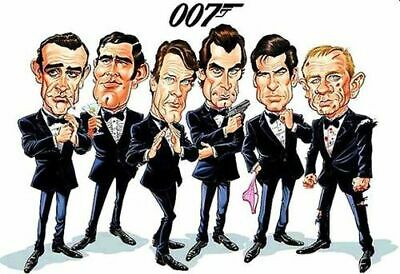 James Bond 007 Roger Moore,Sean Connery Caricature Sticker or Magnet