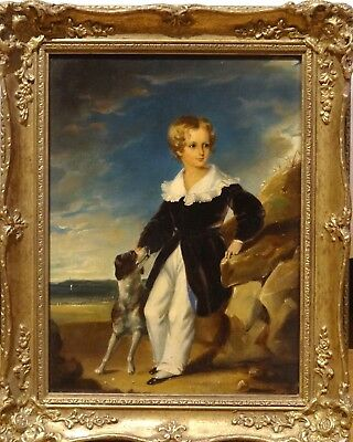 Fine 189th 19th Century English Boy portrait Beach Dog Antique Oil Painting