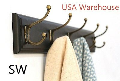 SW Wall Entryway Shelf Coat Hat Rack Solid Wood Holder Hanger 5 Hooks Organizer