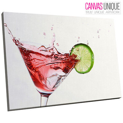 AB132 Modern Cocktail Splash Red Abstract Canvas Wall Art Framed Picture Print