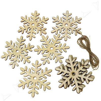 10PCS Christmas Snowflake Wooden Blank Xmas Tree Hangers Craft Tags Party Decor