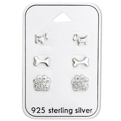 925 Sterling Silver Crystal Paw Print Dog Bone Dog Puppy Gift Set Stud Earrings