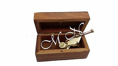 Solid Brass & Copper Boatswain's Pipe Bonus Whistle Key Chain With Wooden Box