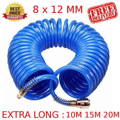 10M / 15M / 20M AIR LINE HOSE 1/4 BSP COMPRESSOR TOOL COILED QUICK FIT Connector