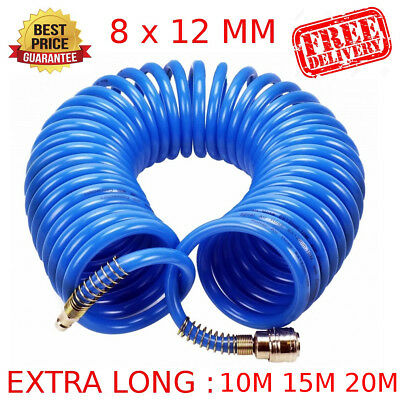 15M/20M AIR LINE HOSE 1/4 BSP COMPRESSOR TOOL COILED QUICK FIT Connector BEST