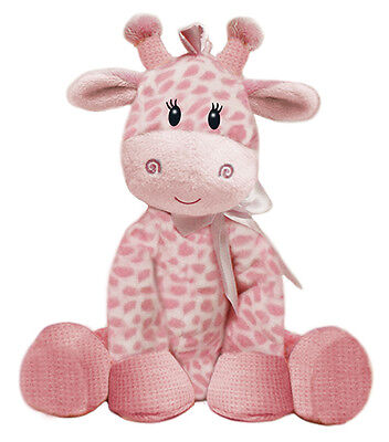 PINK GIRAFFE 21cm Baby Girl Plush Rattle Non Allergic Soft Toy First & Main NEW