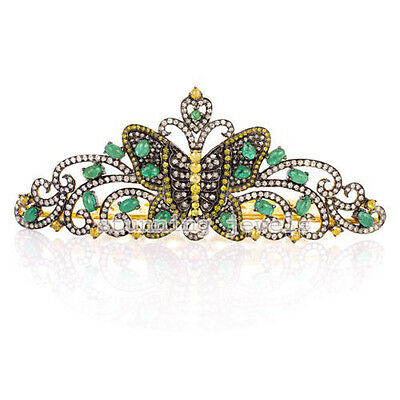 Unique Victorian 16.55Ct Rose Cut Diamond Silver Emerald Butterfly Style Tiara