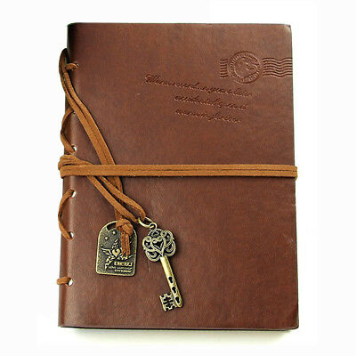 Classic Retro Leather Bound Blank Pages Journal Diary Notepad Notebook Coff Q2N6