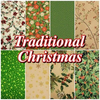 CHRISTMAS Traditional Metallic Green and Cream 100% Cotton Patchwork Fabric