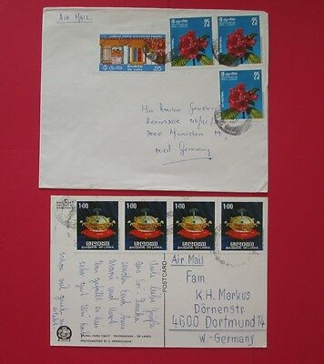 SRI LANKA 1 cover and 1 postcard to germany stamps
