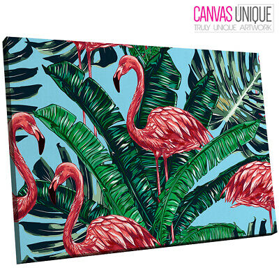 A687 Blue Green Floral Flamingo Animal Canvas Wall Art Framed Picture Print