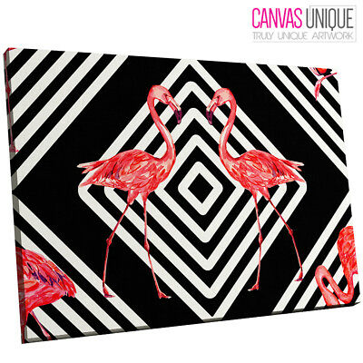 A673 Black White Stripes Flamingo Animal Canvas Wall Art Framed Picture Print