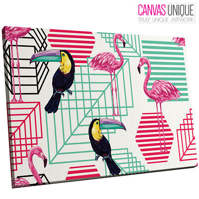 A683 Pink Blue Flamingo Toucan Animal Canvas Wall Art Framed Picture Print