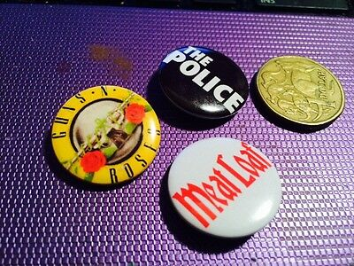 Three Rock Music Metal Button Badges (B)