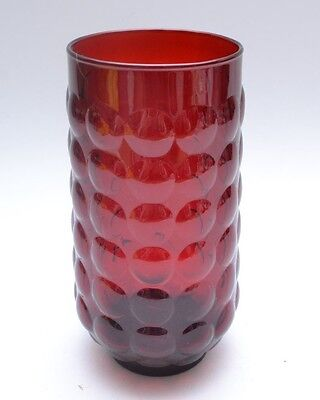 Mid Century Vintage Fabulous Red Art Glass Knobbly Bubble Vase by Anchor Hocking
