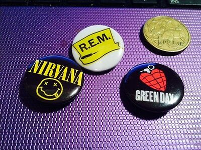 Three Rock Music Metal Button Badges (D)