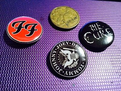 Three Rock Music Metal Button Badges (G)