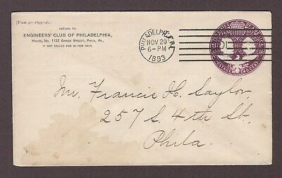 mjstampshobby 1893 US Famous Engineers Club of Philadelphia Vintage Cover Used