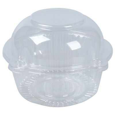 50 x Single Plastic Clear Cupcake Holder / Cake Container WS D6L4